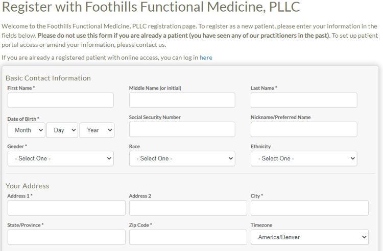 screenshot for patient portal
